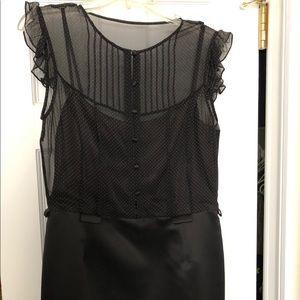 Tahari satin dress with sheer polka dot overlay